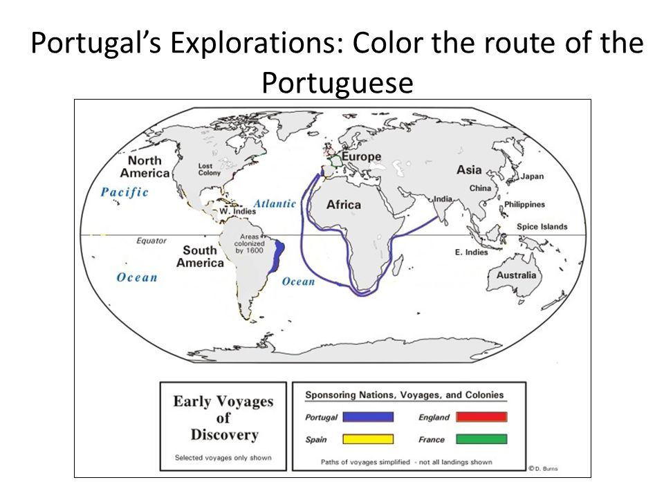 Portugal's Explorations: Color the route of the Portuguese