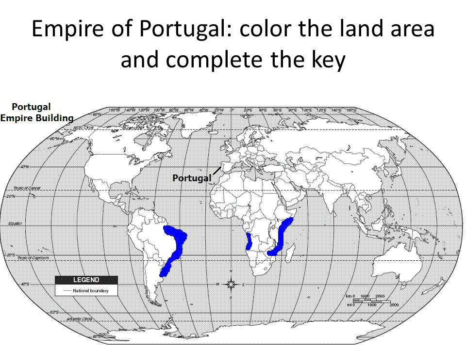 Empire of Portugal: color the land area and complete the key