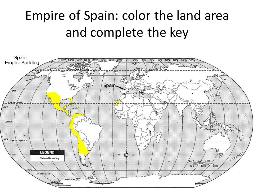 Empire of Spain: color the land area and complete the key