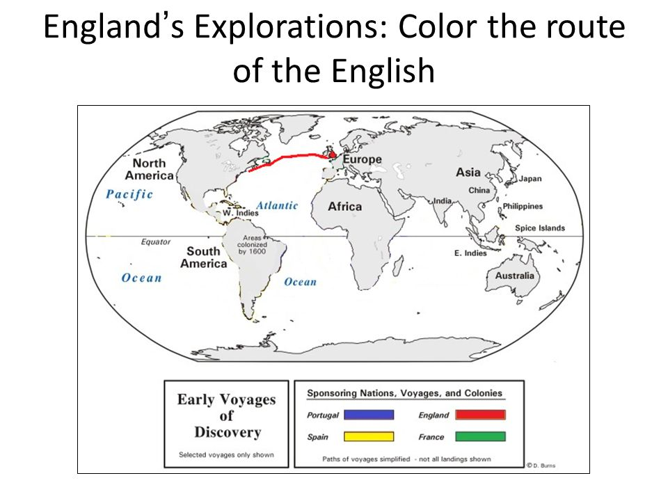 England's Explorations: Color the route of the English