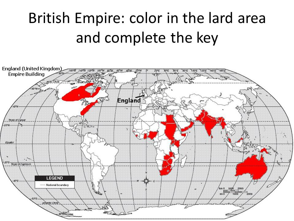 British Empire: color in the lard area and complete the key