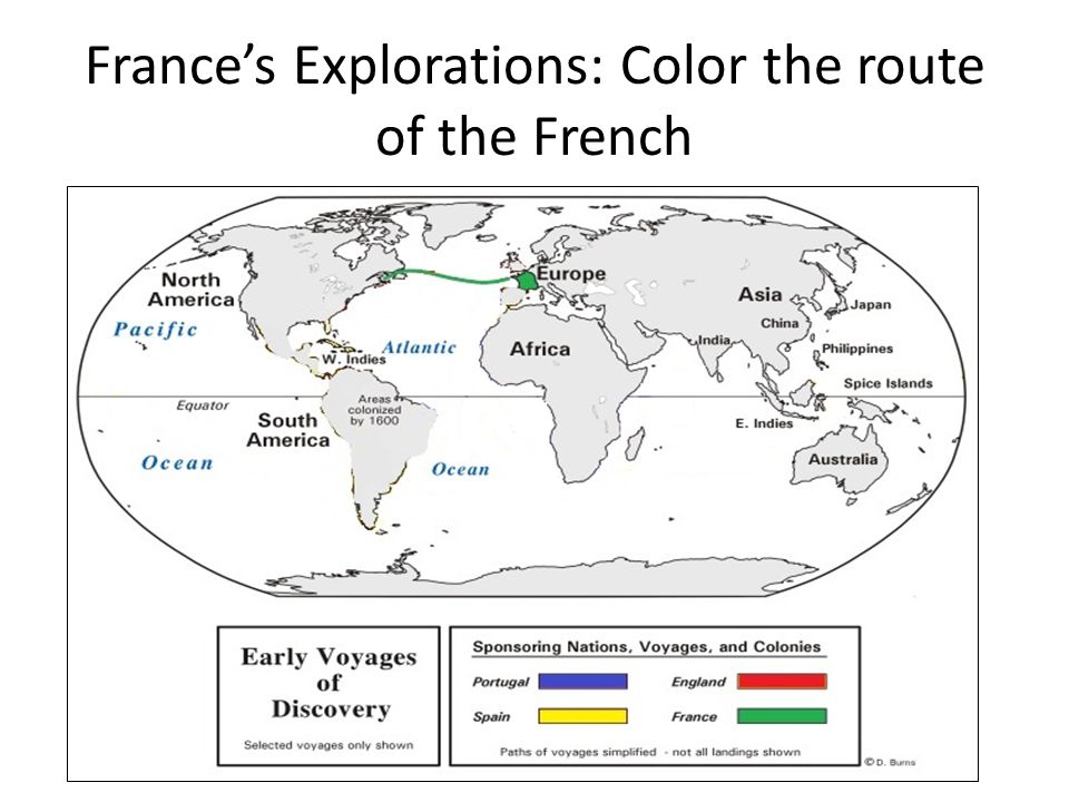 France's Explorations: Color the route of the French