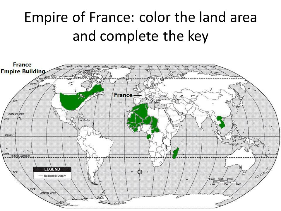 Empire of France: color the land area and complete the key