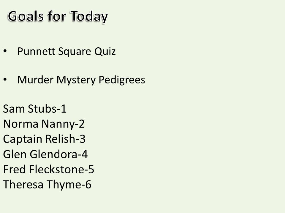 Week 22 Day Two HW 72 Be sure that your Murder Mystery – Pedigree Worksheets