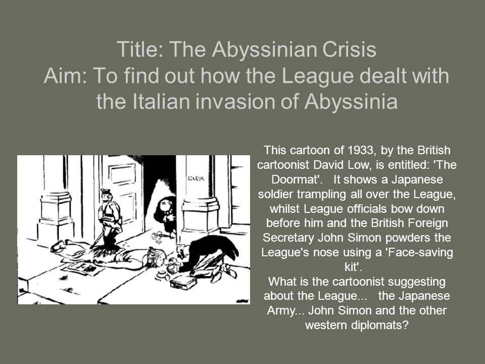 italian invasion abyssinia Two conflicts between italy and ethiopia (also called abyssinia) are known as  the italo-abyssinian war italo-ethiopian war, italo-abyssinian war or italian  invasion of ethiopia.