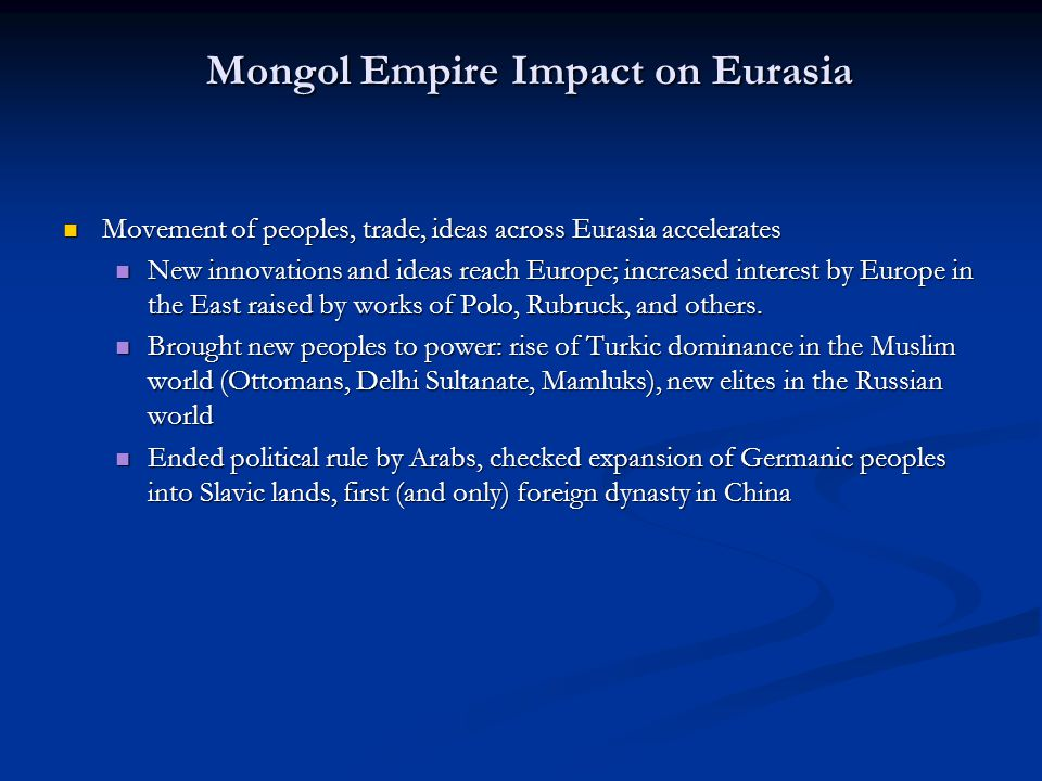 political and economic effects of mongol empire on china and middle east Roman empire with the collapse of the han empire in china the political and economic effects of mongol rule on two of china middle east.