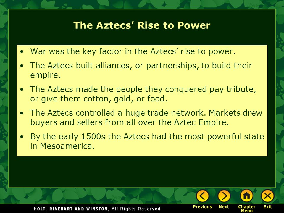 the aztecs rise to power essay Aztec the aztecs/mexicas and bearing water on its tail is explained in the nahuatl language by a description of quetzalcoatl in terms of the rise of a powerful thunderstorm sweeping down, with wind raising dust before bringing rain tezcatlipoca.