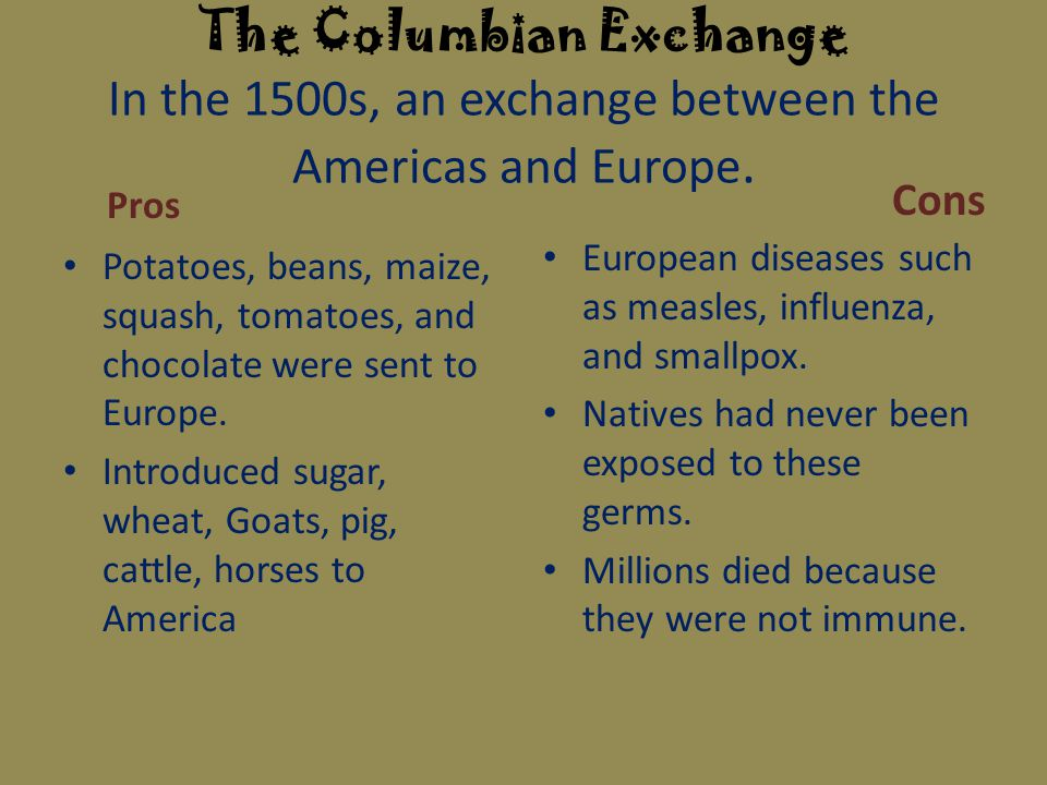 pros cons columbian exchange In the broader sense, historians have used the phrase columbian exchange to describe the exchange of plants, animals and goods between the east and west that his voyages sparked though the.