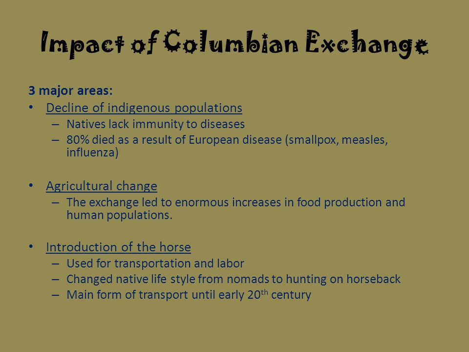 the columbian exchange europeans and native The effects of the columbian exchange it was the year 1492, and a man by the name of christopher columbus set sail from spain where he then landed in the present day americas, sparking one of the most important events in the world, the columbian exchange.