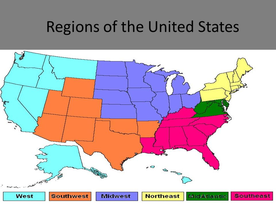 Regions Of The United States C2009 Tesccc Cl Outline Northeast South