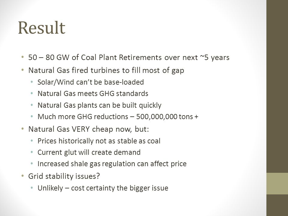 Result 50 – 80 GW of Coal Plant Retirements over next ~5 years