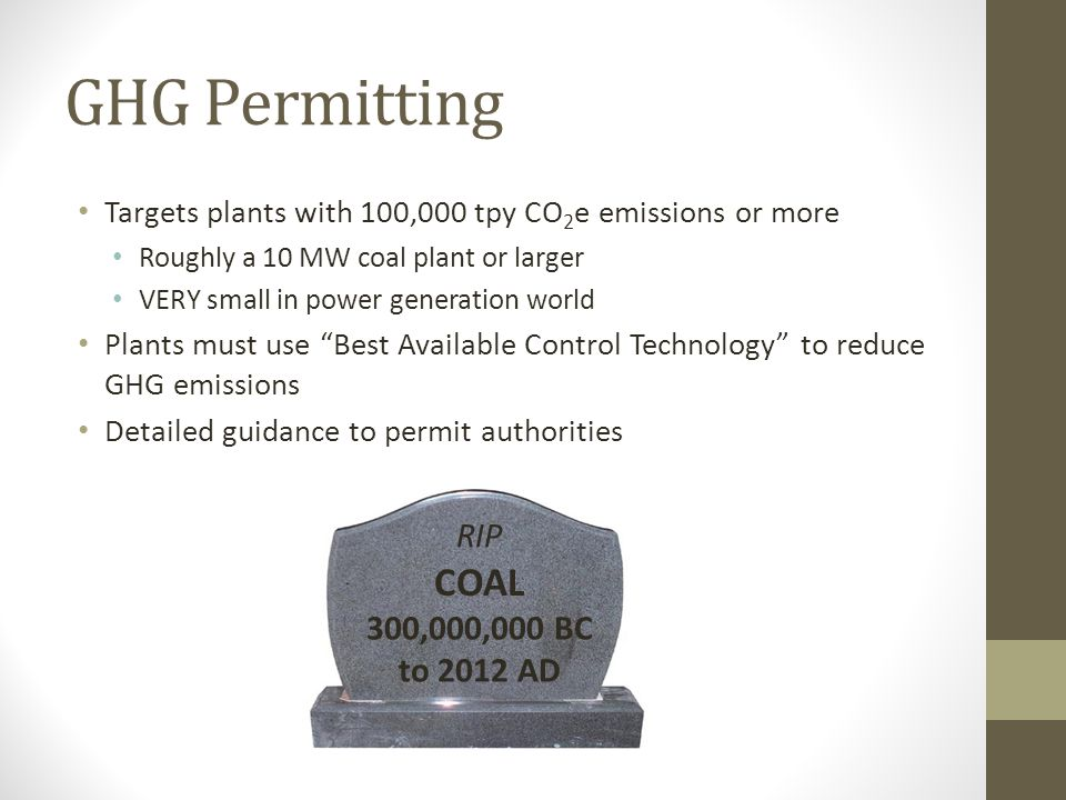 GHG Permitting COAL RIP 300,000,000 BC to 2012 AD
