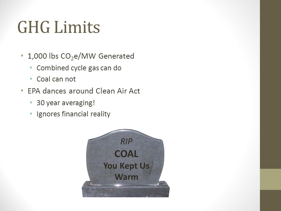 GHG Limits COAL RIP You Kept Us Warm 1,000 lbs CO2e/MW Generated