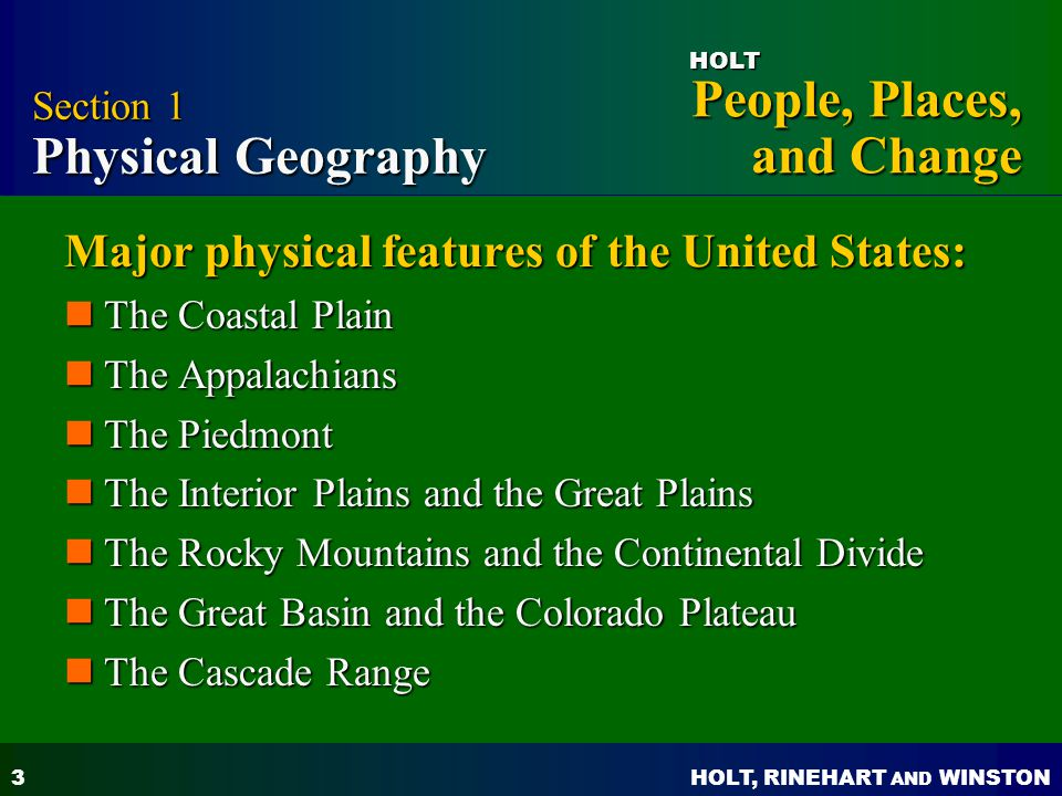 Holt People Places And Changes Ppt Video Online Download - Major physical features of united states