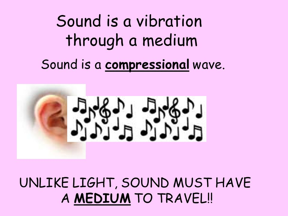 Sound is a vibration through a medium Sound is a compressional wave.