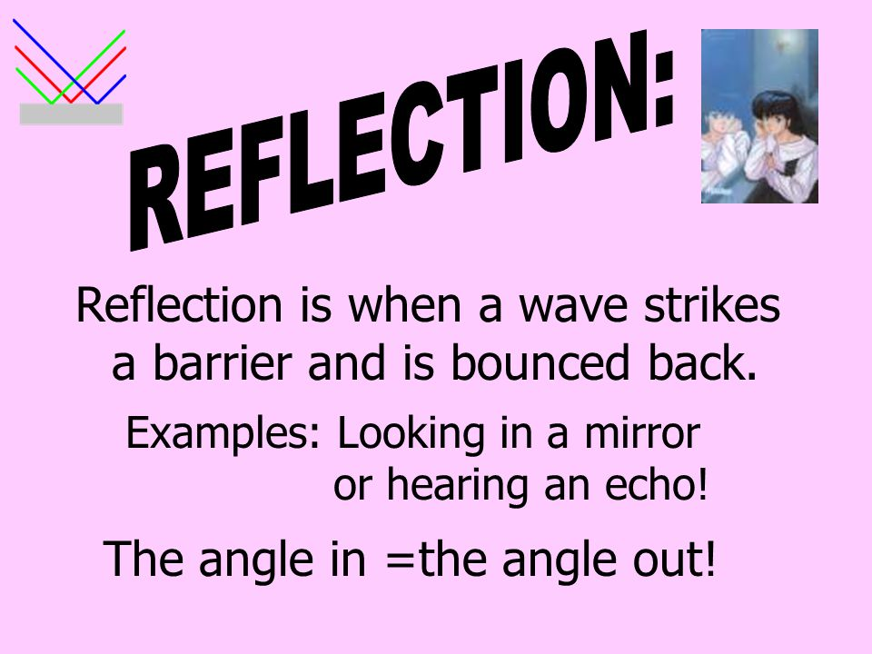 REFLECTION: Reflection is when a wave strikes