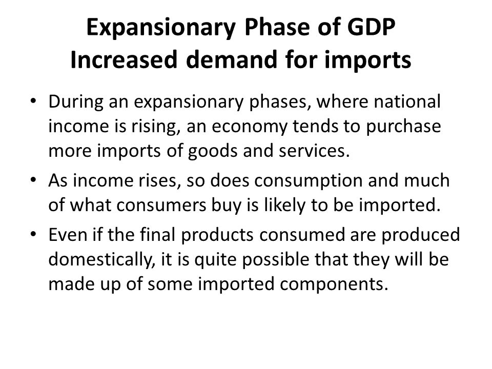 Expansionary Phase of GDP Increased demand for imports