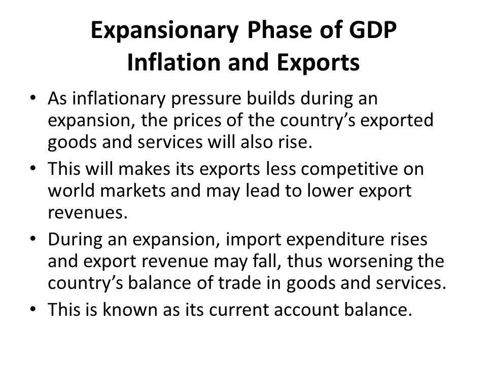 Expansionary Phase of GDP Inflation and Exports