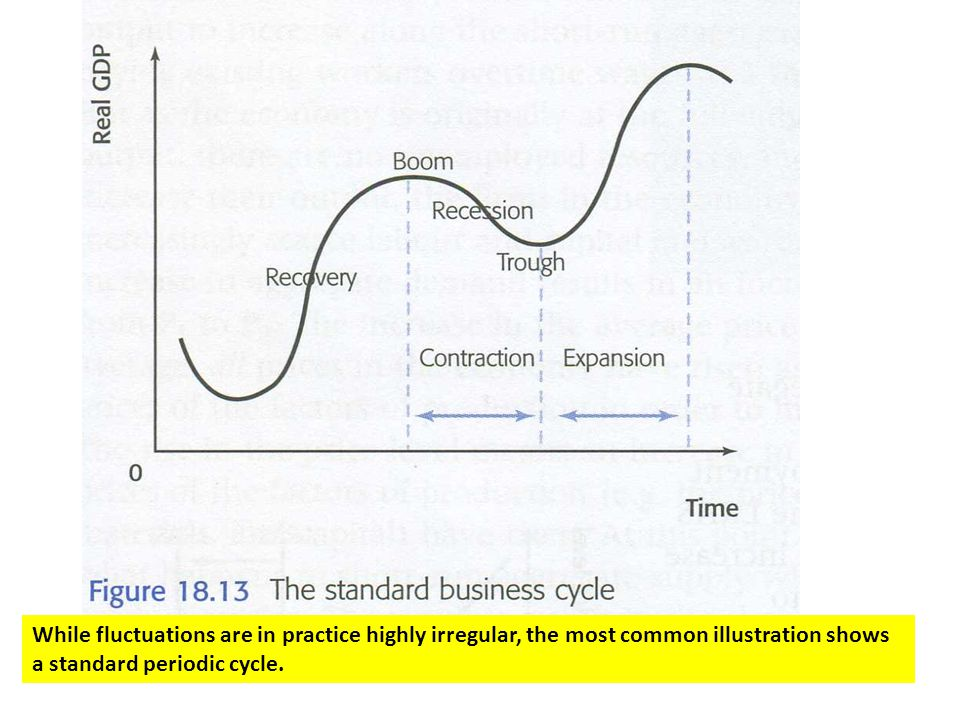 While fluctuations are in practice highly irregular, the most common illustration shows a standard periodic cycle.