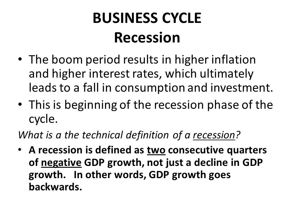 BUSINESS CYCLE Recession