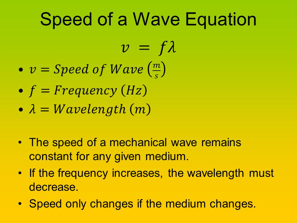 Speed of a Wave Equation