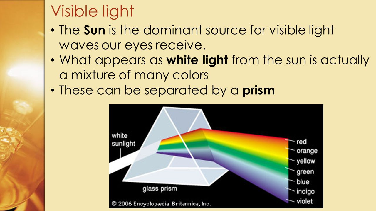 Visible light The Sun is the dominant source for visible light waves our eyes receive.
