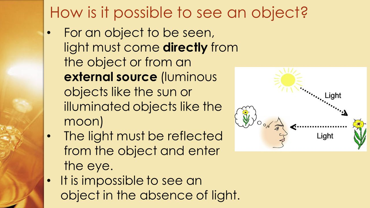 How is it possible to see an object
