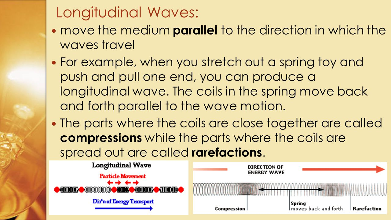 Longitudinal Waves: move the medium parallel to the direction in which the waves travel.