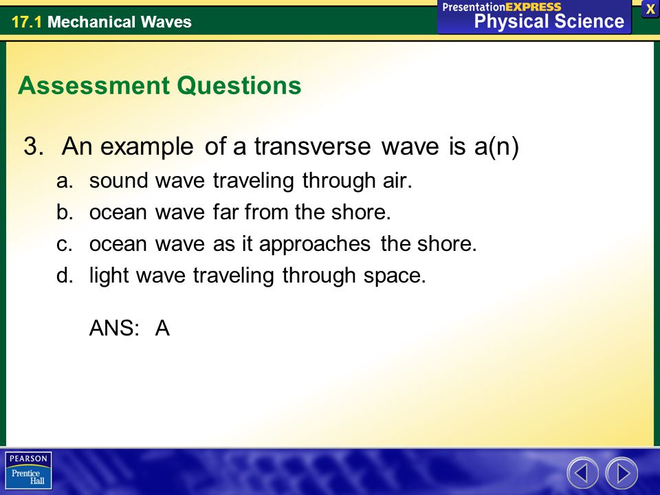 An example of a transverse wave is a(n)