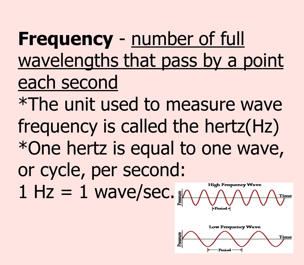 Frequency - number of full wavelengths that pass by a point each second