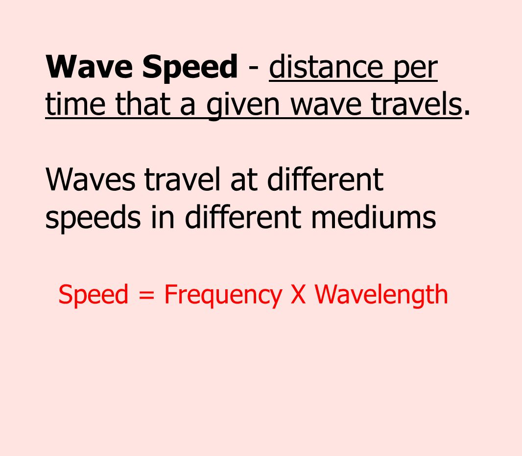 Wave Speed - distance per time that a given wave travels.