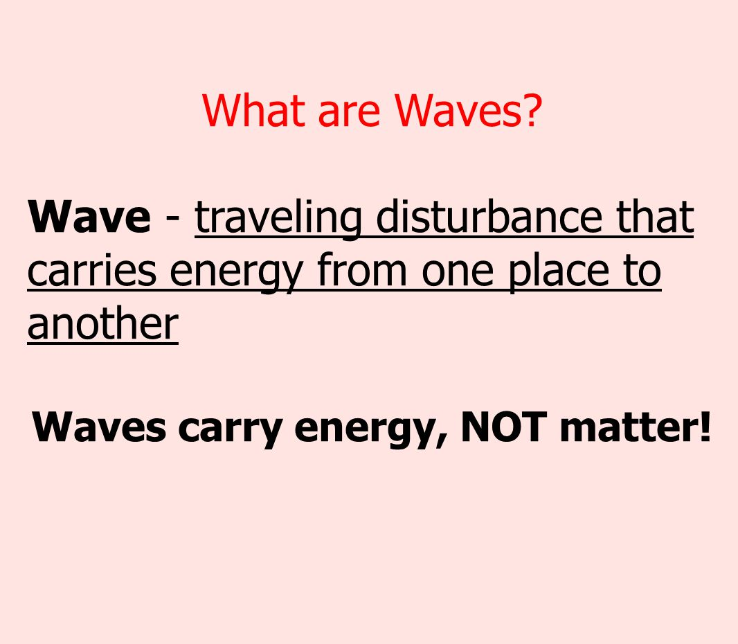 Waves carry energy, NOT matter!