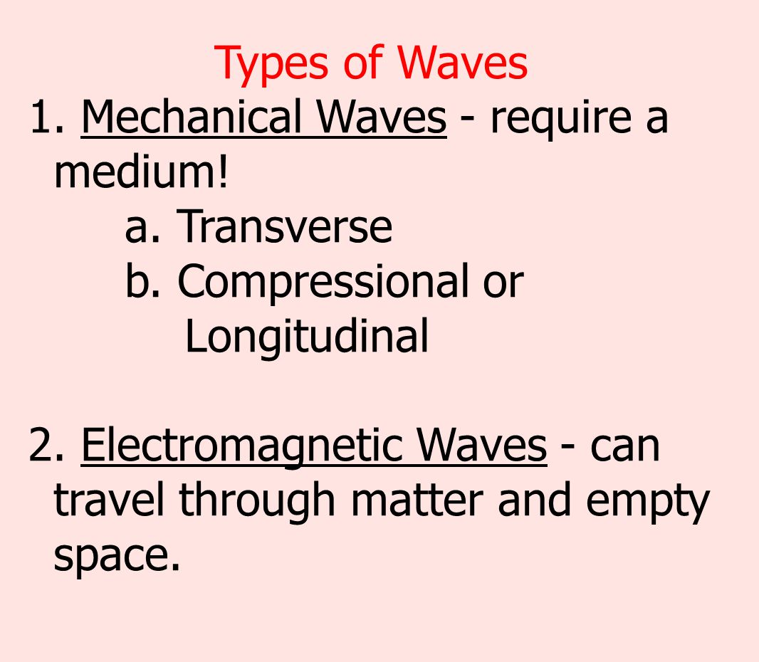 Types of Waves Mechanical Waves - require a medium! a. Transverse b. Compressional or. Longitudinal.