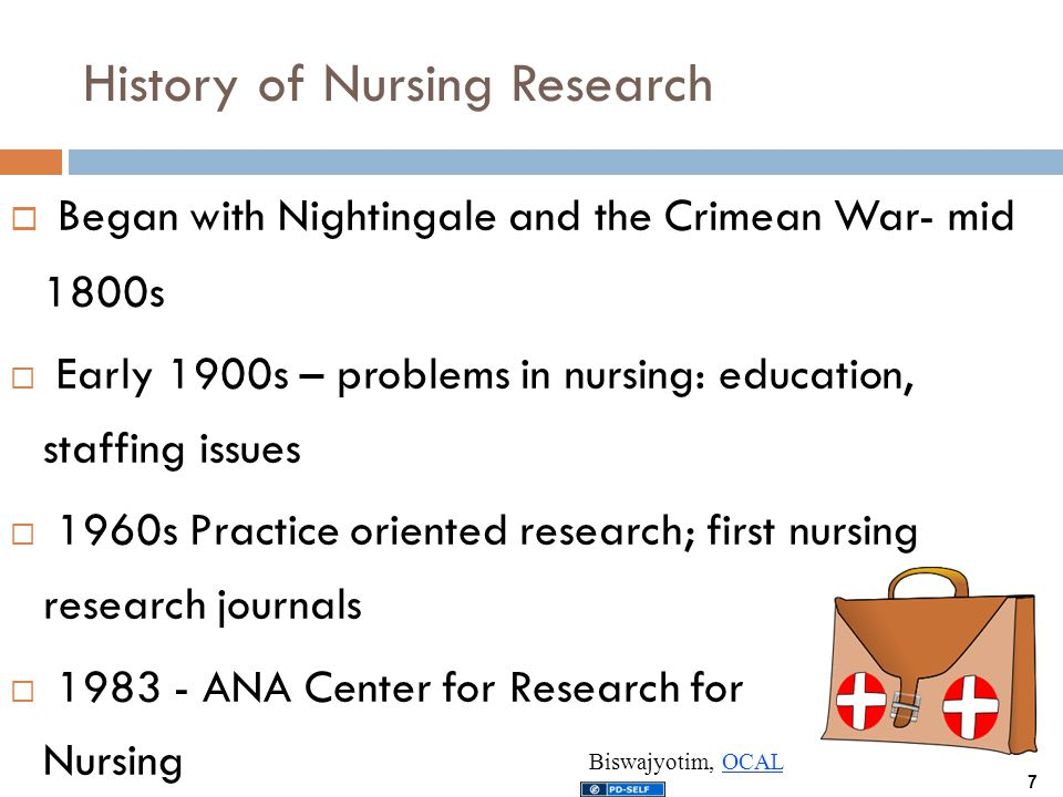 history of nursing research The history of nursing research began with the famous british nurse florence nightingale it is the nursing research which decides and manages the fundamentals of the nursing practice in common.