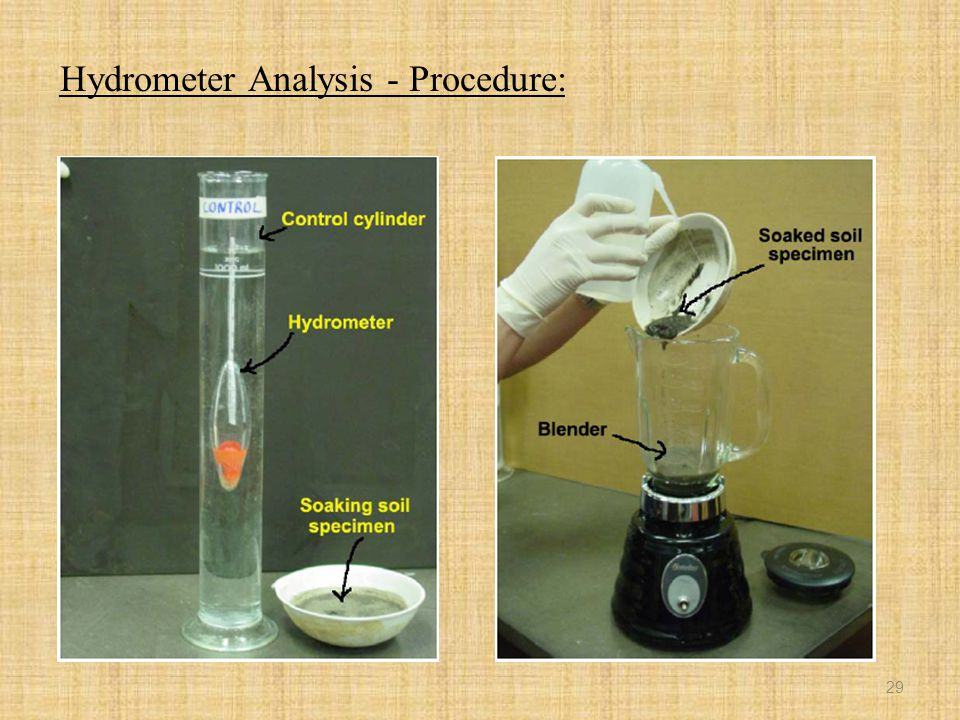 hydrometer analysis The data obtained from grain size distribution curves is used in the design of filters for earth dams and  grain size analysis of soils by hydrometer analysis.