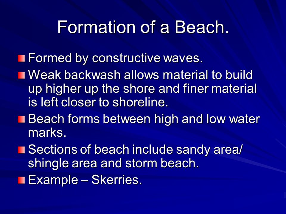 Formation Of A Beach Formed By Constructive Waves