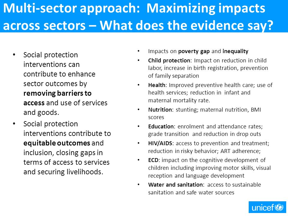 Multi-sector approach: Maximizing impacts across sectors – What does the evidence say