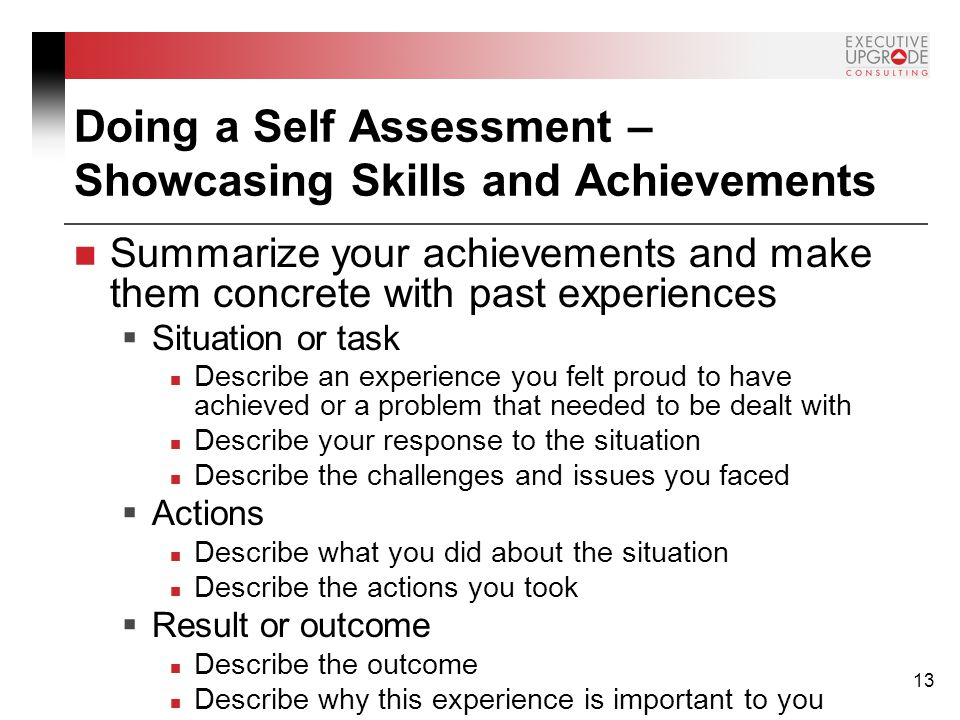 doing a self assessment showcasing skills and achievements