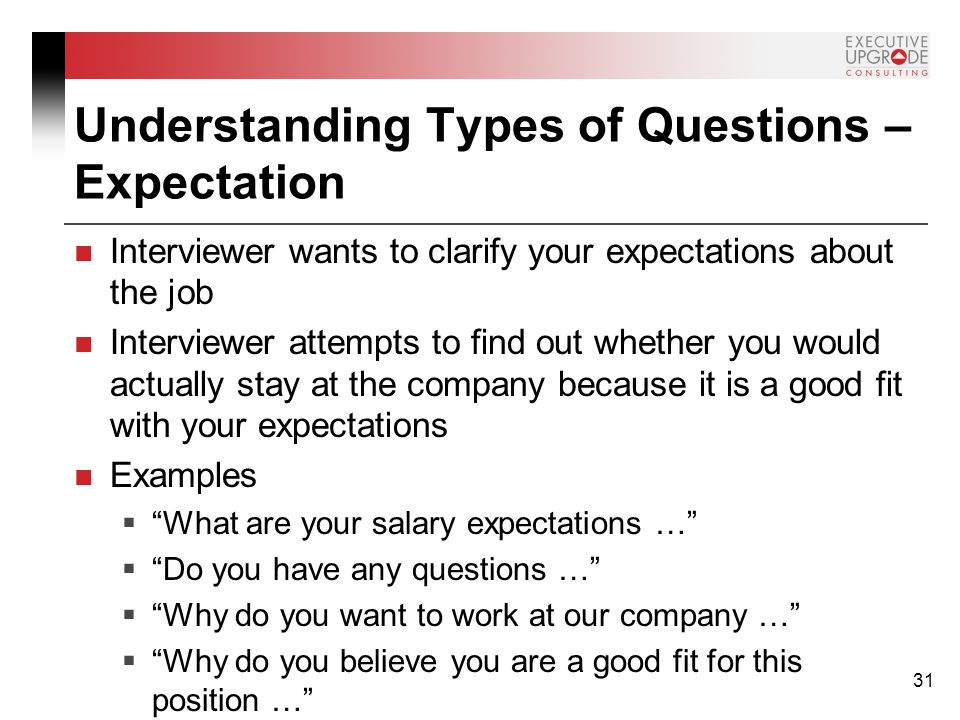 understanding types of questions expectation - What Are Your Expectations For The Job What Is Your Expected Salary