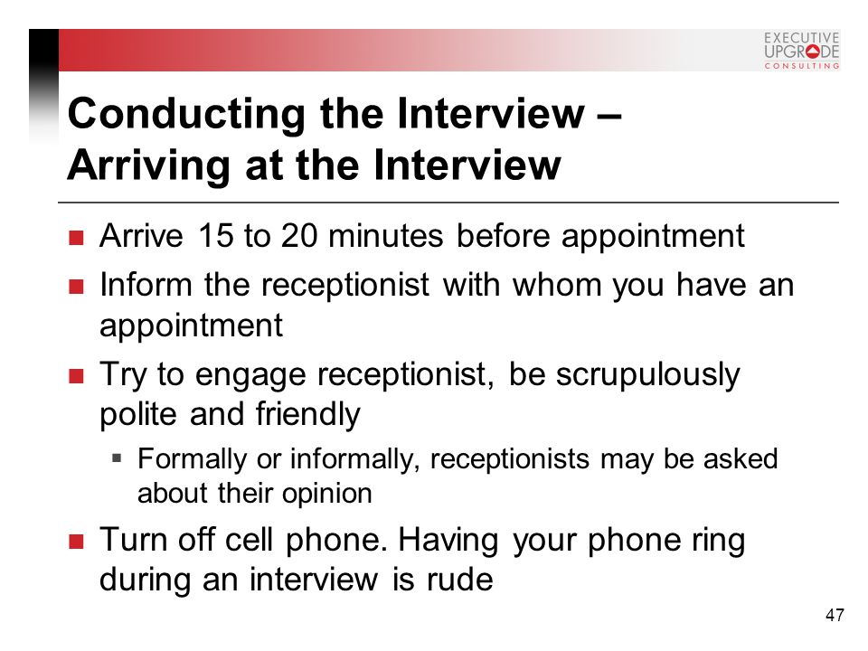 how early should you arrive to an interview