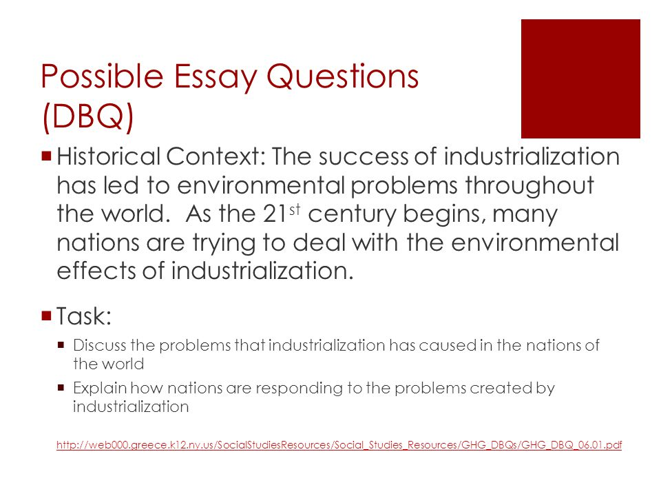 dbq essay on industrialization Industrial revolution dbq write an essay that: question: evaluate the positive and negative effects of the industrial revolution.