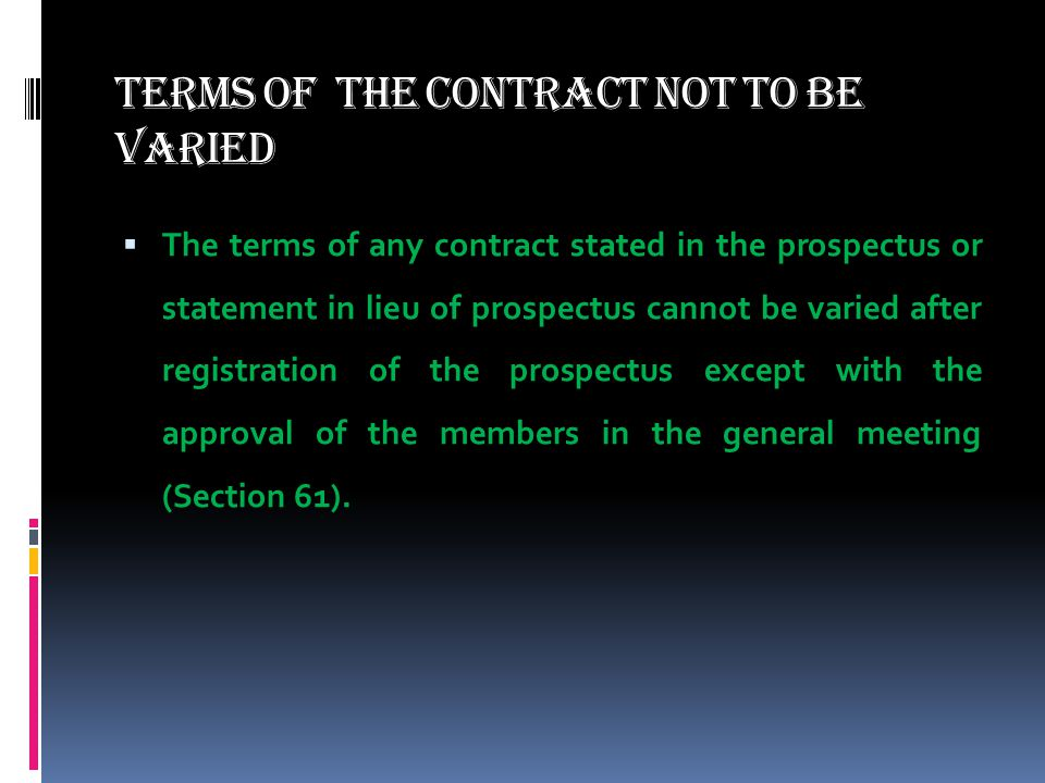 Terms of the contract not to be varied