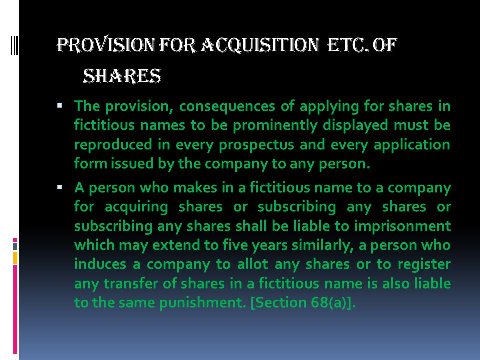 provision for Acquisition etc. of Shares