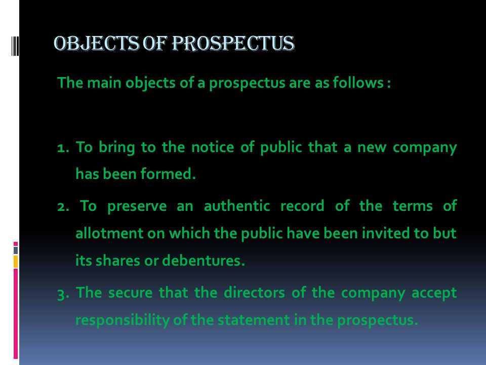 Objects of Prospectus