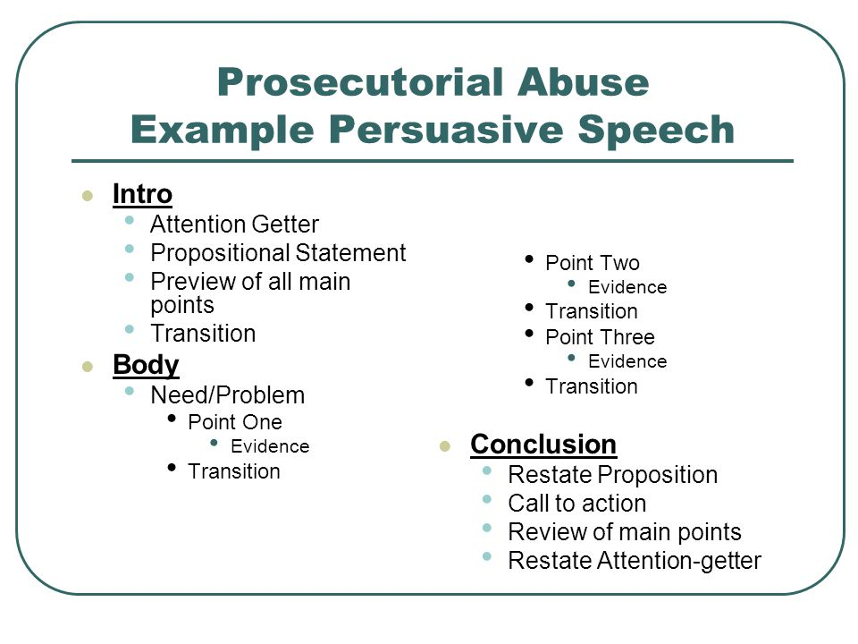 how to write persuasive speech Conclusion – the final part of the speech gives you the opportunity to sum up the arguments, restate your main idea and provoke your audience to take your side the stickiest part of persuasive speech writing process is preparation first of all, you need to decide on (if not already assigned) the topic of your speech.