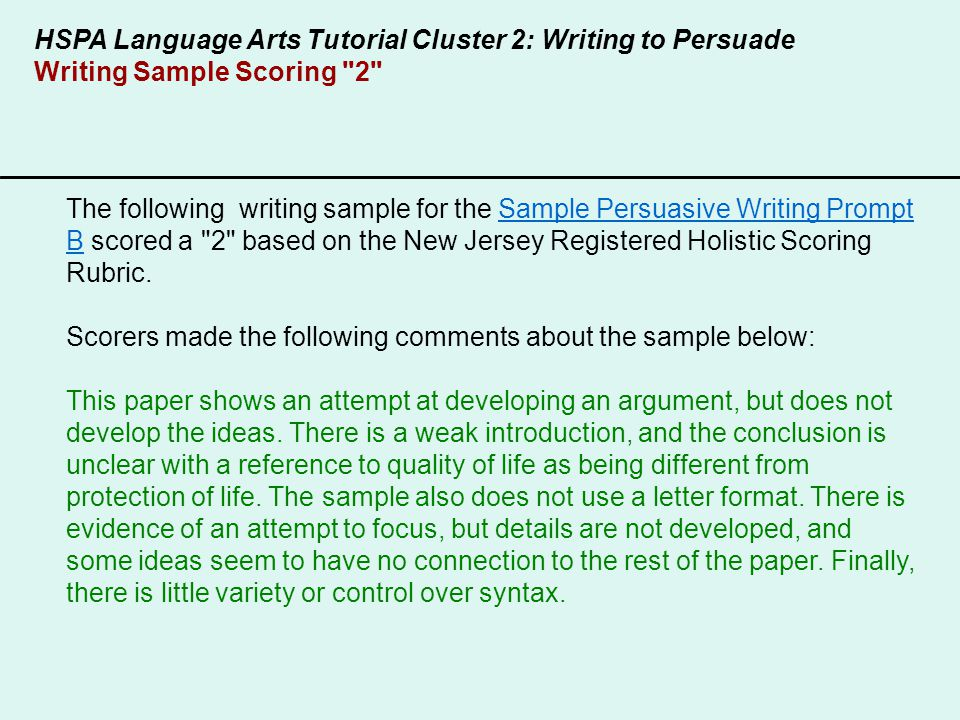 nj hspa expository essay rubric As with the hspa persuasive writing task and all other new jersey writing prompts, the hspa expository tasks will be scored using the new jersey registered holistic scoring rubric, which is used to determine that a student has written a focused essay with several key ideas that are elaborated with specific and vivid details and organized in a.