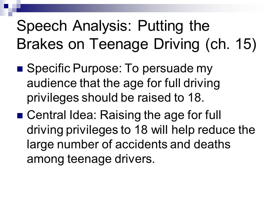 persuasive speech teen driving in nj Should the legal driving age be raised to 21 most teens are excited about driving but why rush into it if the i am 18 and i live in nj and me and all.
