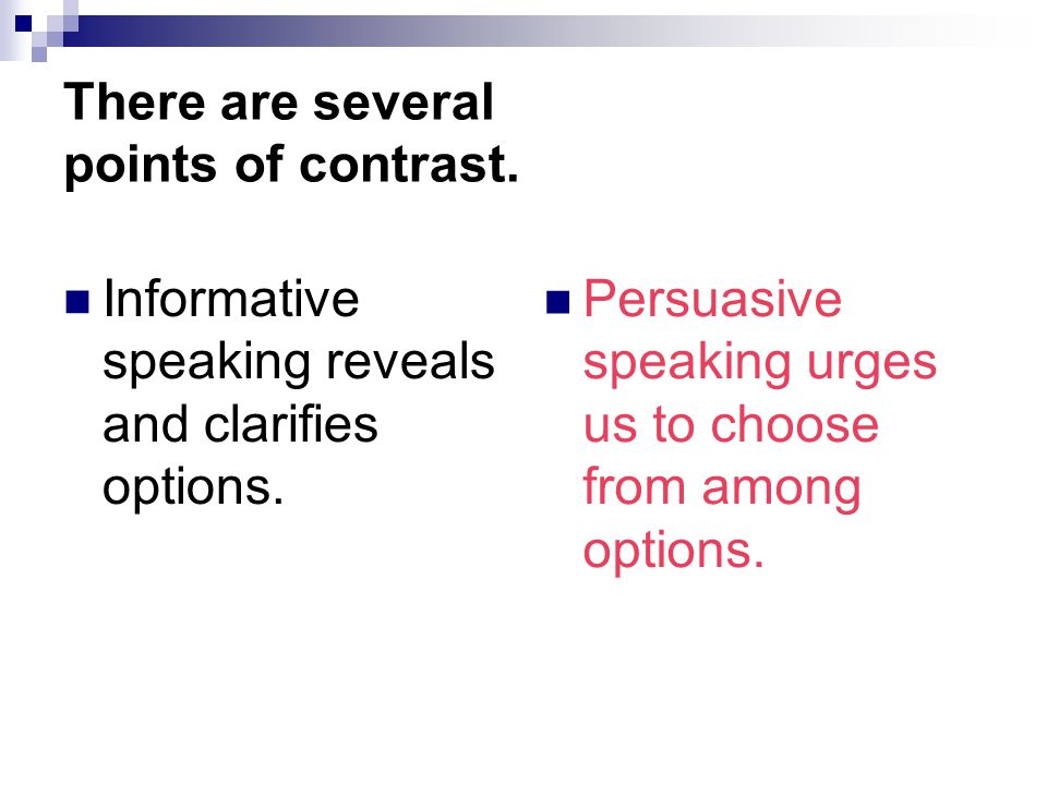 informative and persuasive speeches is there Persuasive speech on a question of  similar to informative speech:.