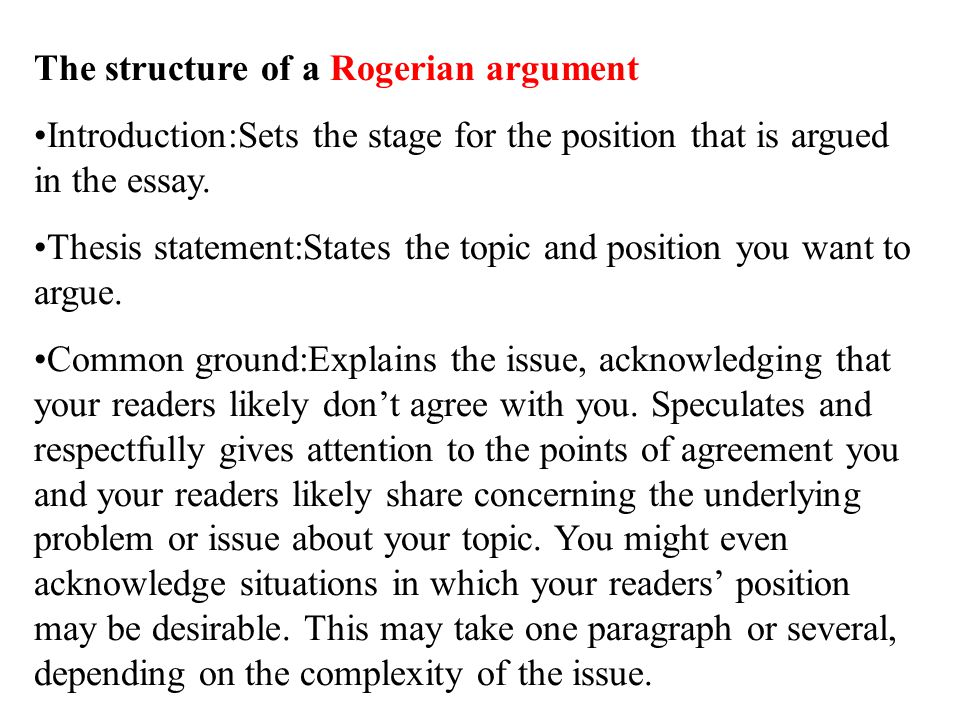 how to write a rogerian argument