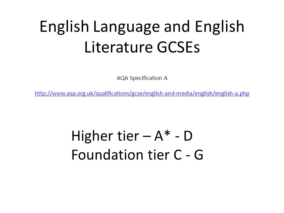English Language and English Literature GCSEs AQA ...